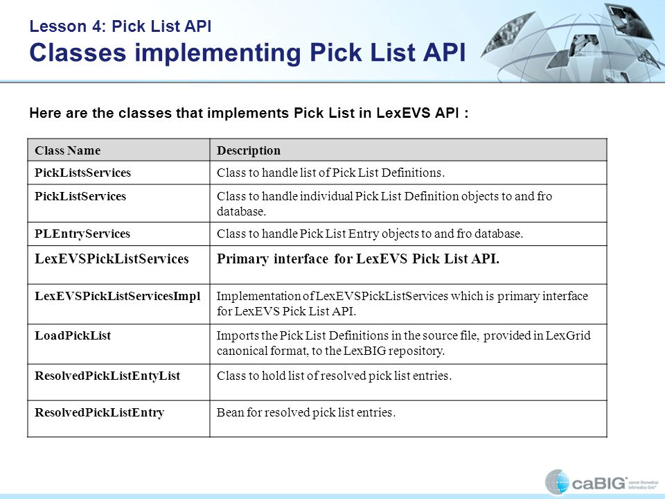 Lesson 4: Pick List API Classes implementing Pick List API Here are the classes that implements Pick List in LexEVS API : Class NameDescription PickListsServicesClass to handle list of Pick List Definitions.