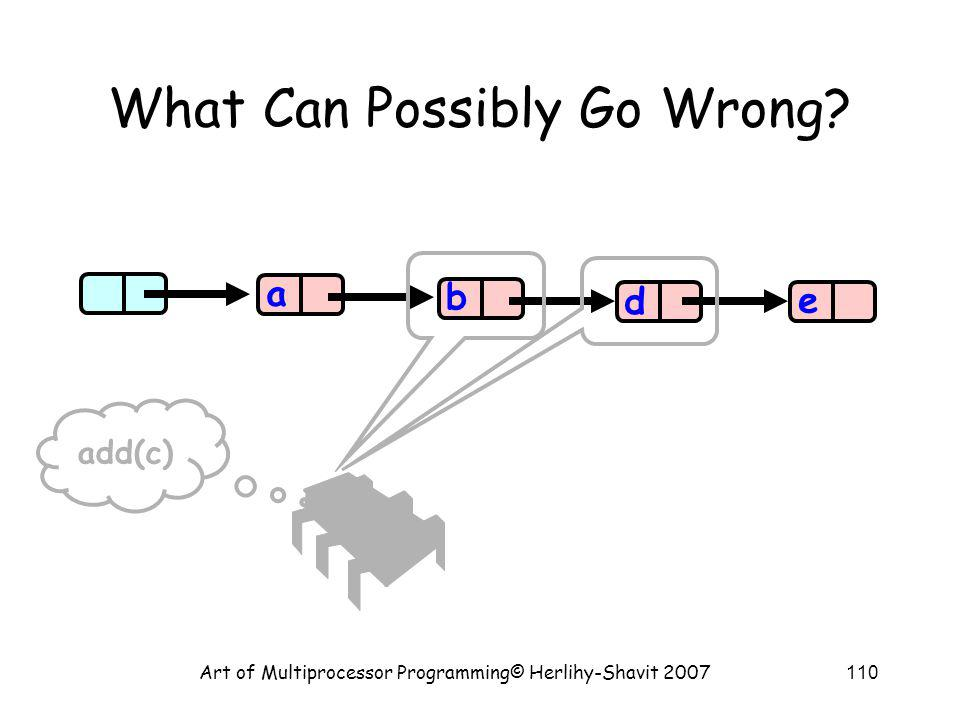 Art of Multiprocessor Programming© Herlihy-Shavit 2007110 What Can Possibly Go Wrong.