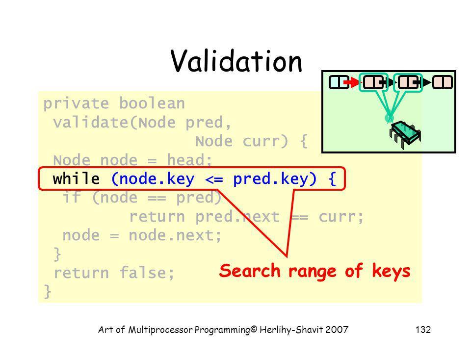 Art of Multiprocessor Programming© Herlihy-Shavit 2007132 private boolean validate(Node pred, Node curr) { Node node = head; while (node.key <= pred.k
