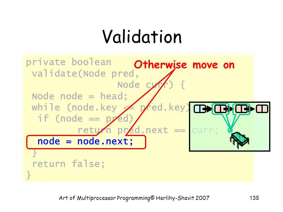 Art of Multiprocessor Programming© Herlihy-Shavit 2007135 private boolean validate(Node pred, Node curr) { Node node = head; while (node.key <= pred.key) { if (node == pred) return pred.next == curr; node = node.next; } return false; } Validation Otherwise move on
