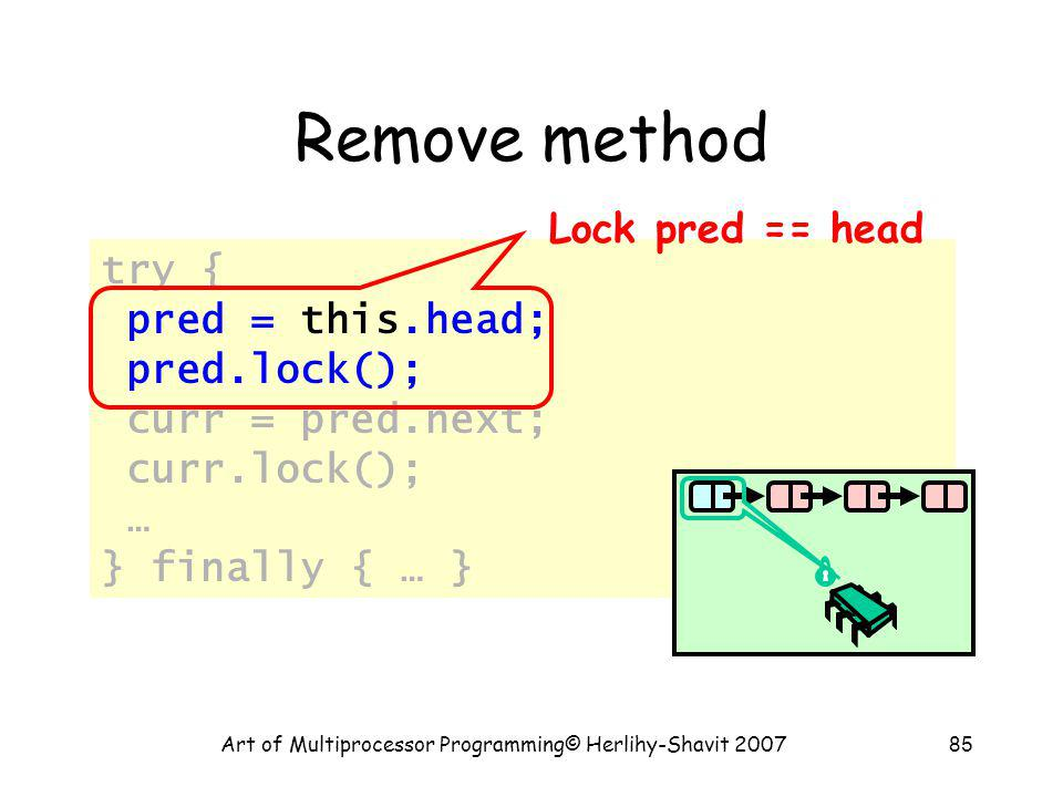 Art of Multiprocessor Programming© Herlihy-Shavit 200785 Remove method try { pred = this.head; pred.lock(); curr = pred.next; curr.lock(); … } finally { … } Lock pred == head