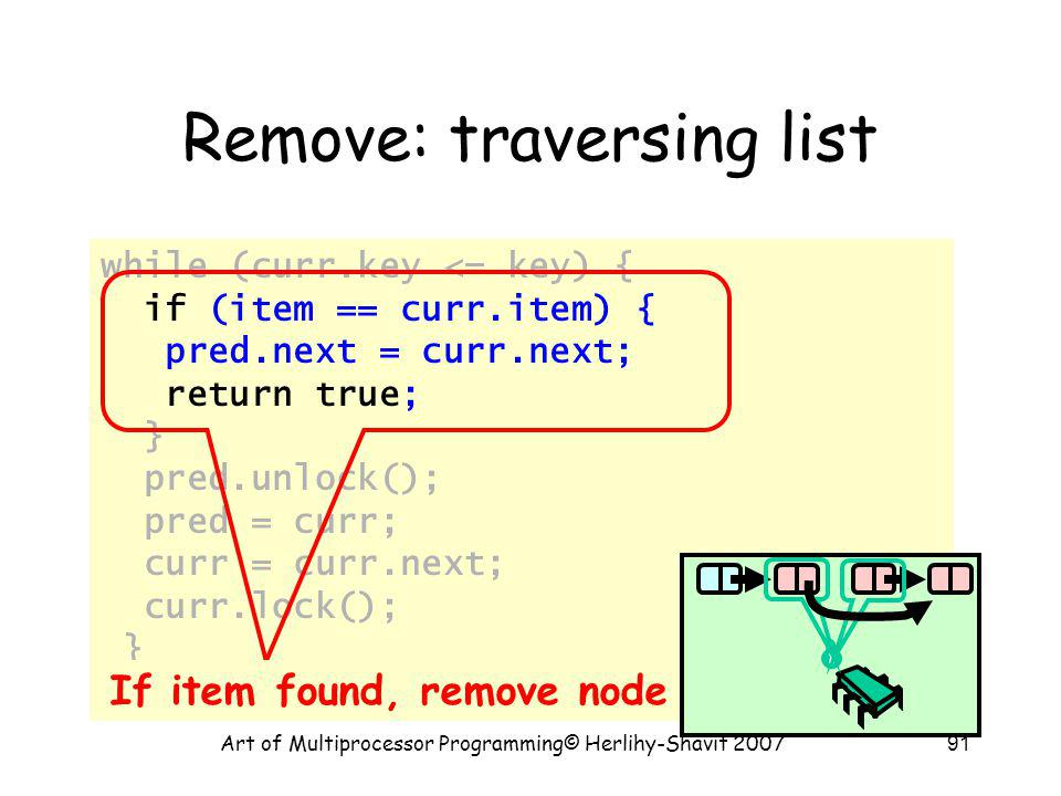 Art of Multiprocessor Programming© Herlihy-Shavit 200791 Remove: traversing list while (curr.key <= key) { if (item == curr.item) { pred.next = curr.n