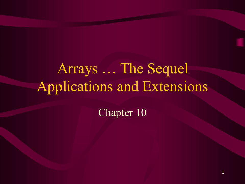 31 Multidimensional Arrays C++ arrays not limited to two dimensions –limitation is amount of memory const int NUM_BLDGS = 10; const int APTS_PER_BLDG = 12; float apt_pmts [NUM_BLDGS][6][APTS_PER_BLDG];