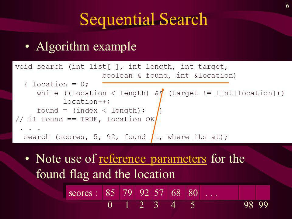 5 Sequential Search Consider the list unordered (not sorted) For a function to search for a targert we must specify –name of the array to be searched –length of the list (number of array elements) –a flag parameter which tells whether or not the search was successful –an index value to be returned which tells where in the list the item was found scores scores : 85 79 92 57 68 80...