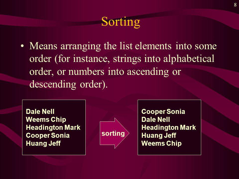 8 Sorting Means arranging the list elements into some order (for instance, strings into alphabetical order, or numbers into ascending or descending order).