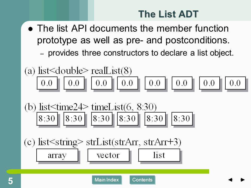 Main Index Contents 55 Main Index Contents The List ADT The list API documents the member function prototype as well as pre- and postconditions.