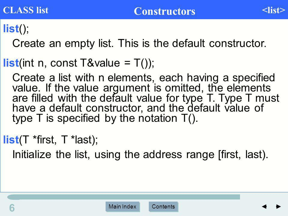 Main Index Contents 17 Main Index Contents Ordered lists Position the iterator curr at the front of the list.