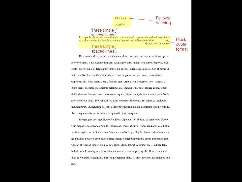 Three single spaced lines Block quote format Follows heading