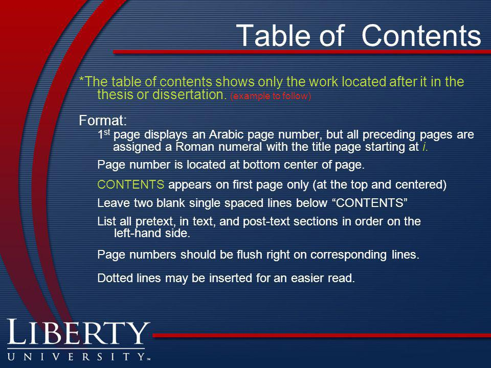 Table of Contents *The table of contents shows only the work located after it in the thesis or dissertation.