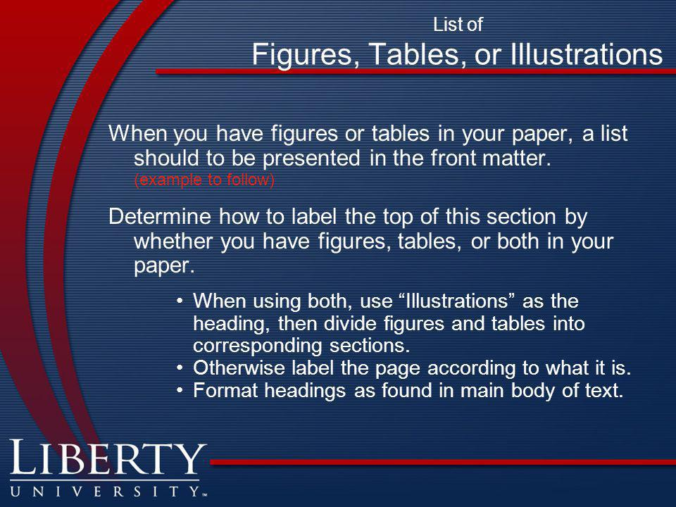 List of Figures, Tables, or Illustrations When you have figures or tables in your paper, a list should to be presented in the front matter.