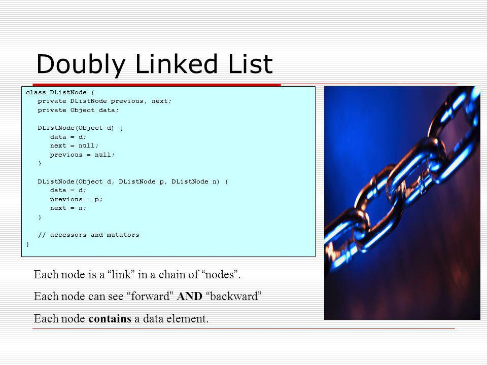 Doubly Linked List class DListNode { private DListNode previous, next; private Object data; DListNode(Object d) { data = d; next = null; previous = nu