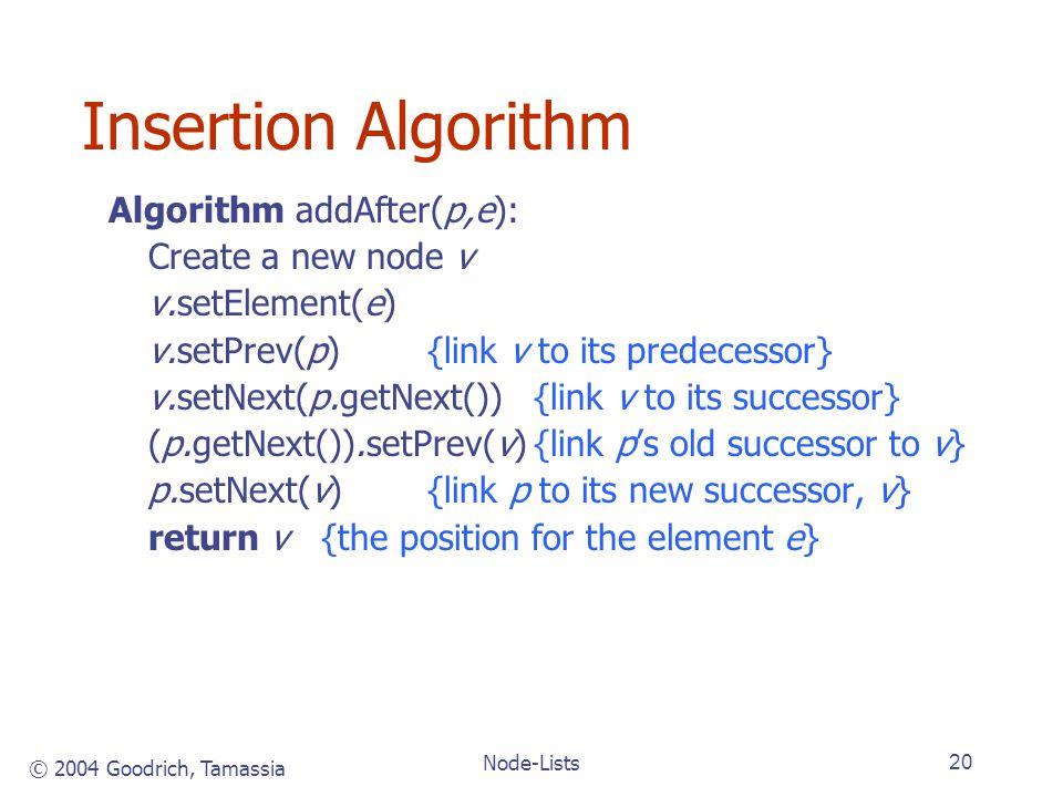 © 2004 Goodrich, Tamassia Node-Lists20 Insertion Algorithm Algorithm addAfter(p,e): Create a new node v v.setElement(e) v.setPrev(p){link v to its predecessor} v.setNext(p.getNext()){link v to its successor} (p.getNext()).setPrev(v){link ps old successor to v} p.setNext(v){link p to its new successor, v} return v{the position for the element e}