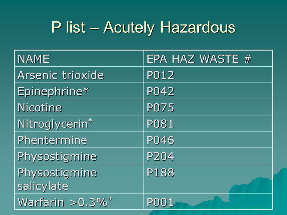 P list – Acutely Hazardous NAME EPA HAZ WASTE # Arsenic trioxide P012 Epinephrine*P042 NicotineP075 Nitroglycerin * P081 PhentermineP046 PhysostigmineP204 Physostigmine salicylate P188 Warfarin >0.3% * P001