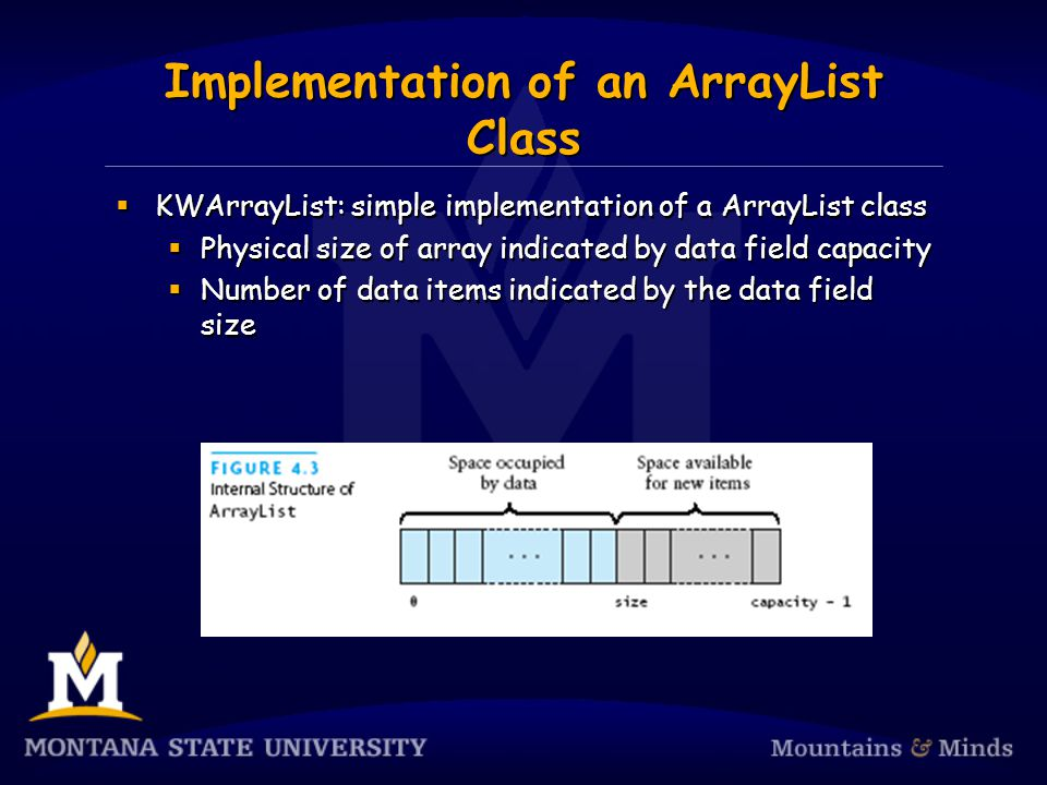 Implementation of an ArrayList Class KWArrayList: simple implementation of a ArrayList class Physical size of array indicated by data field capacity Number of data items indicated by the data field size KWArrayList: simple implementation of a ArrayList class Physical size of array indicated by data field capacity Number of data items indicated by the data field size