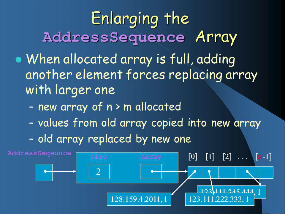 123.111.345.444, 1 Enlarging the AddressSequence Array When allocated array is full, adding another element forces replacing array with larger one – new array of n > m allocated – values from old array copied into new array – old array replaced by new one AddressSeqeunce size array 2 [0] [1] [2]...