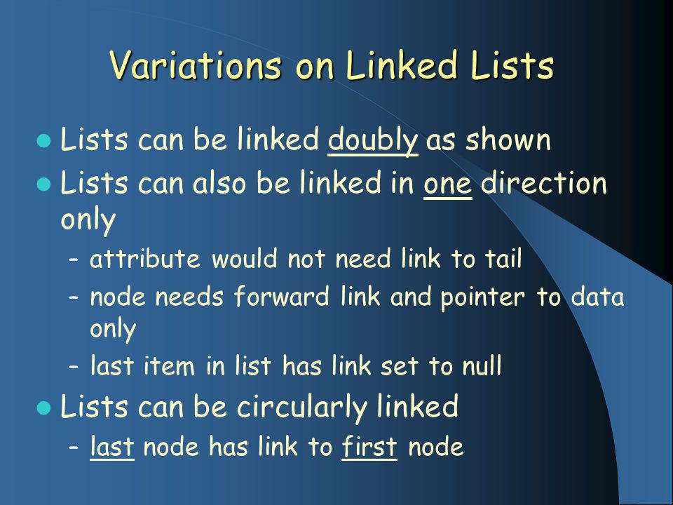 Variations on Linked Lists Lists can be linked doubly as shown Lists can also be linked in one direction only – attribute would not need link to tail – node needs forward link and pointer to data only – last item in list has link set to null Lists can be circularly linked – last node has link to first node