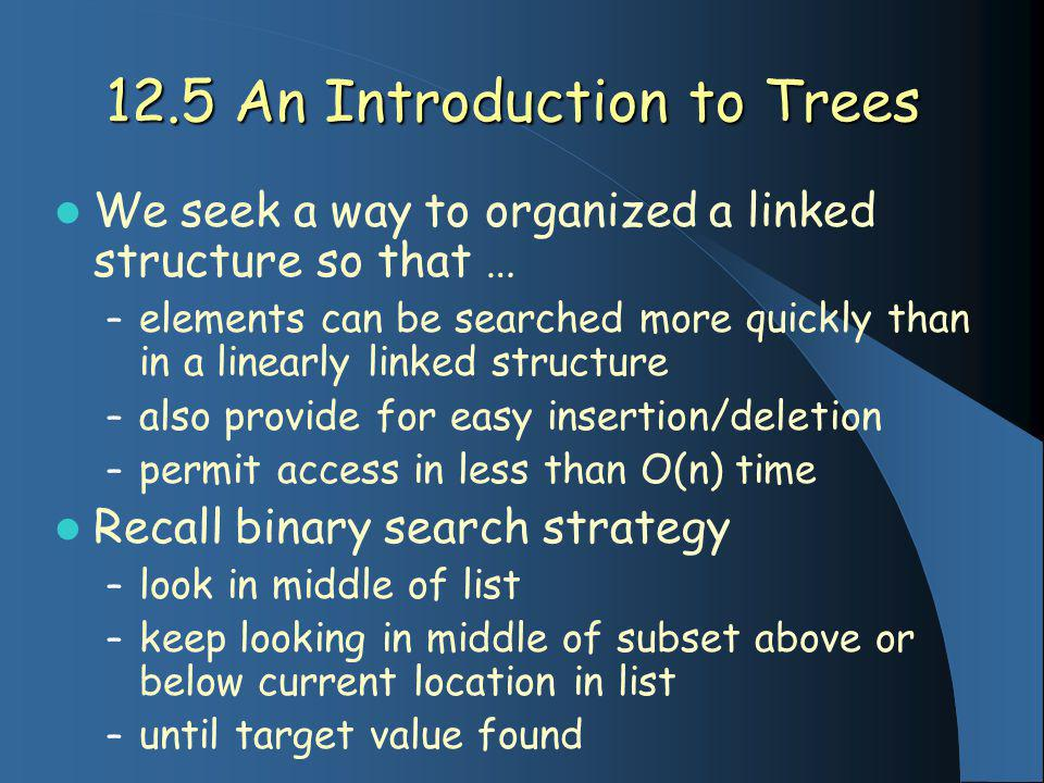12.5 An Introduction to Trees We seek a way to organized a linked structure so that … – elements can be searched more quickly than in a linearly linked structure – also provide for easy insertion/deletion – permit access in less than O(n) time Recall binary search strategy – look in middle of list – keep looking in middle of subset above or below current location in list – until target value found