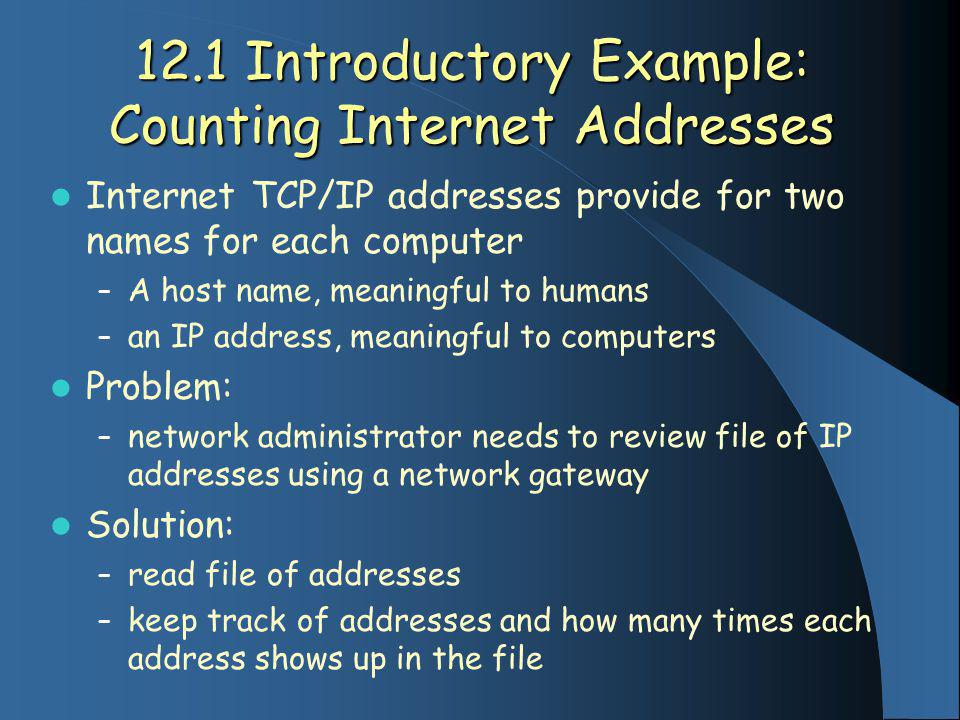 12.1 Introductory Example: Counting Internet Addresses Internet TCP/IP addresses provide for two names for each computer – A host name, meaningful to