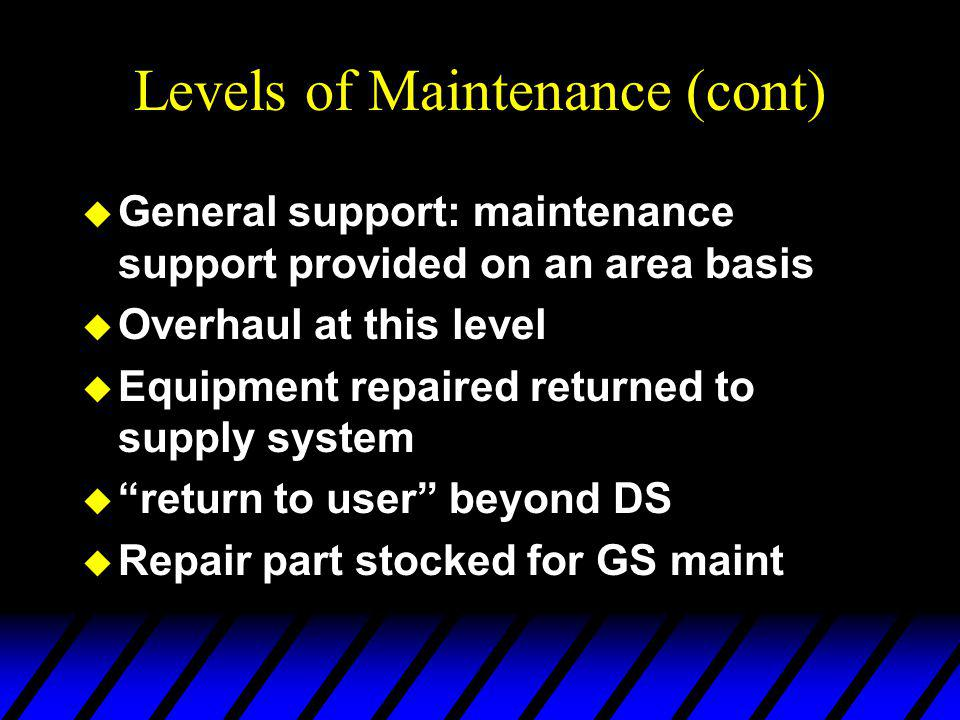 Levels of Maintenance (cont) u General support: maintenance support provided on an area basis u Overhaul at this level u Equipment repaired returned to supply system u return to user beyond DS u Repair part stocked for GS maint