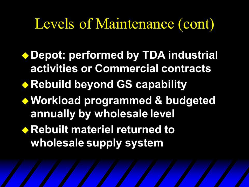 Levels of Maintenance (cont) u Depot: performed by TDA industrial activities or Commercial contracts u Rebuild beyond GS capability u Workload programmed & budgeted annually by wholesale level u Rebuilt materiel returned to wholesale supply system