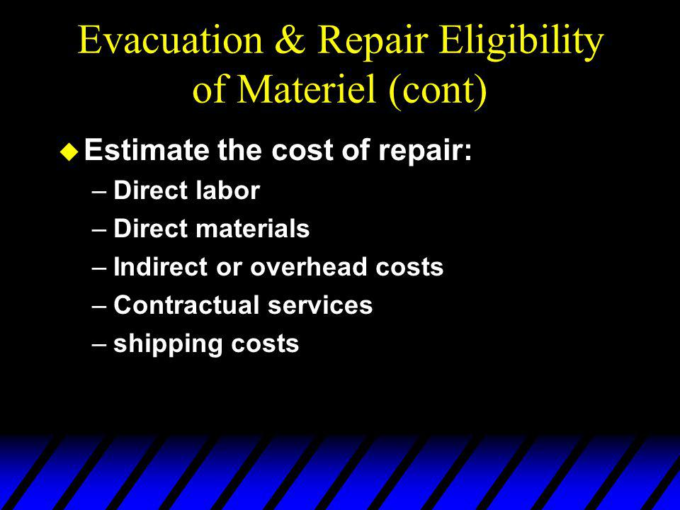 Evacuation & Repair Eligibility of Materiel (cont) u Condition codes used to classify equipment: –A - serviceable (without qualifications) –B - serviceable (with qualifications) –F - unserviceable (repairable) –G - unserviceable (incomplete) –H - unserviceable (condemned)