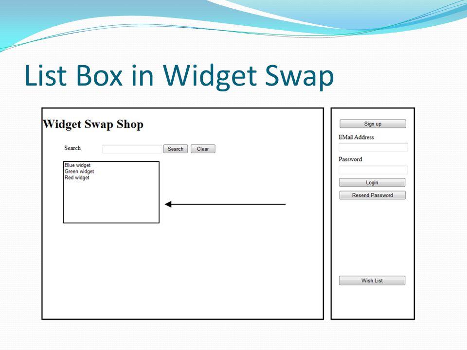 List Box in Widget Swap
