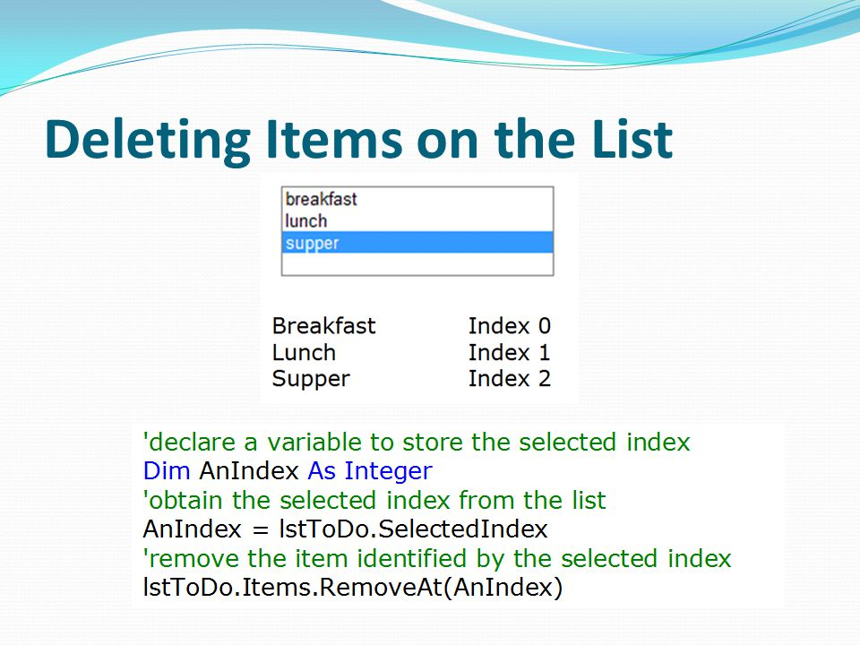Deleting Items on the List