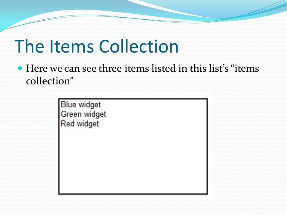 The Items Collection Here we can see three items listed in this lists items collection