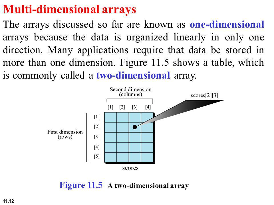 11.12 Multi-dimensional arrays The arrays discussed so far are known as one-dimensional arrays because the data is organized linearly in only one dire