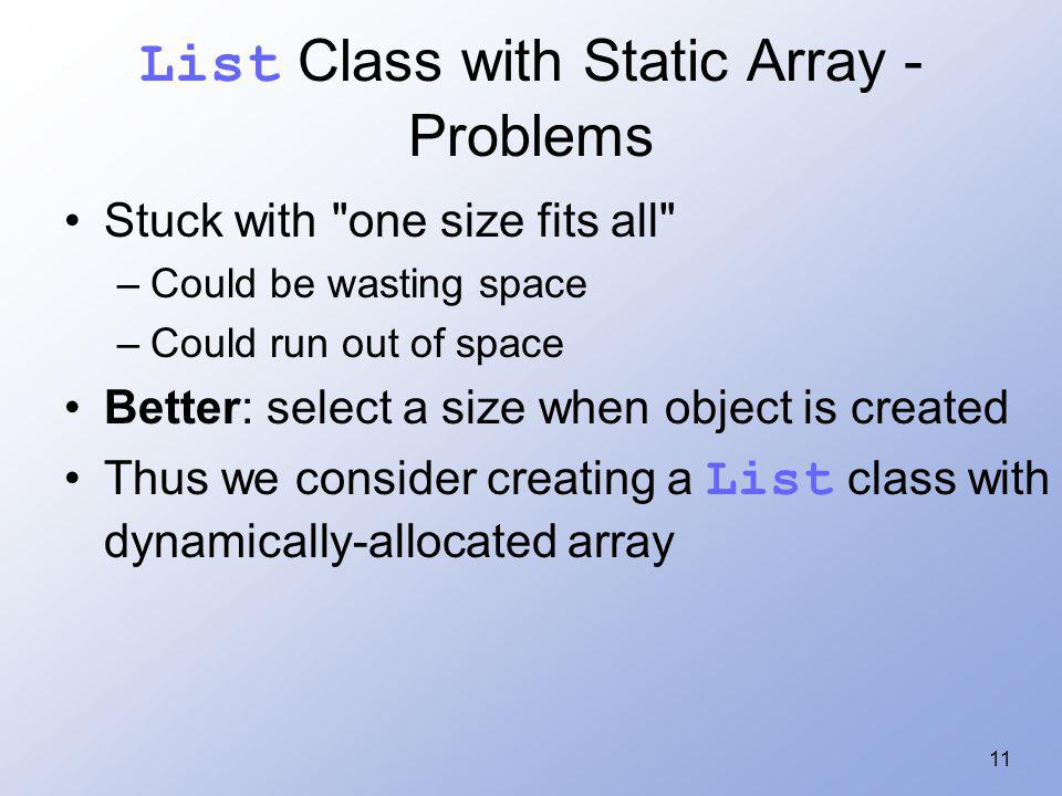 11 List Class with Static Array - Problems Stuck with