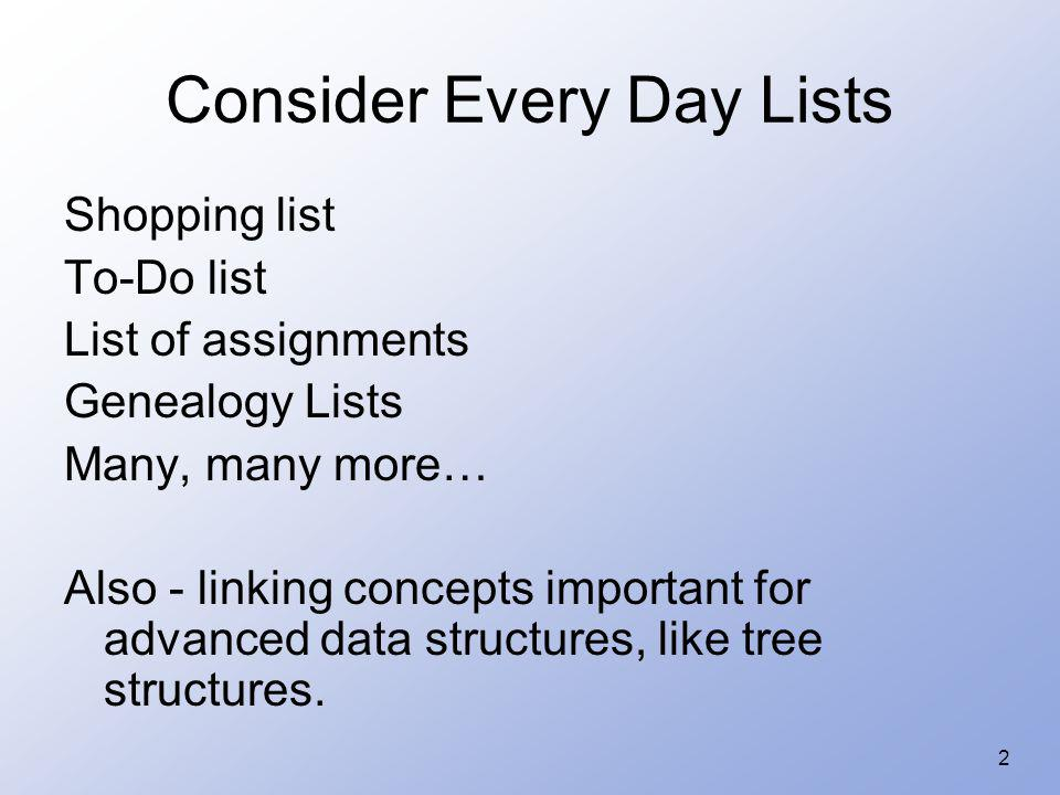3 Properties of Lists (review) Can have a single element Can have no elements There can be lists of lists We will look at the list as an abstract data type –Homogeneous –Finite length –Sequential elements