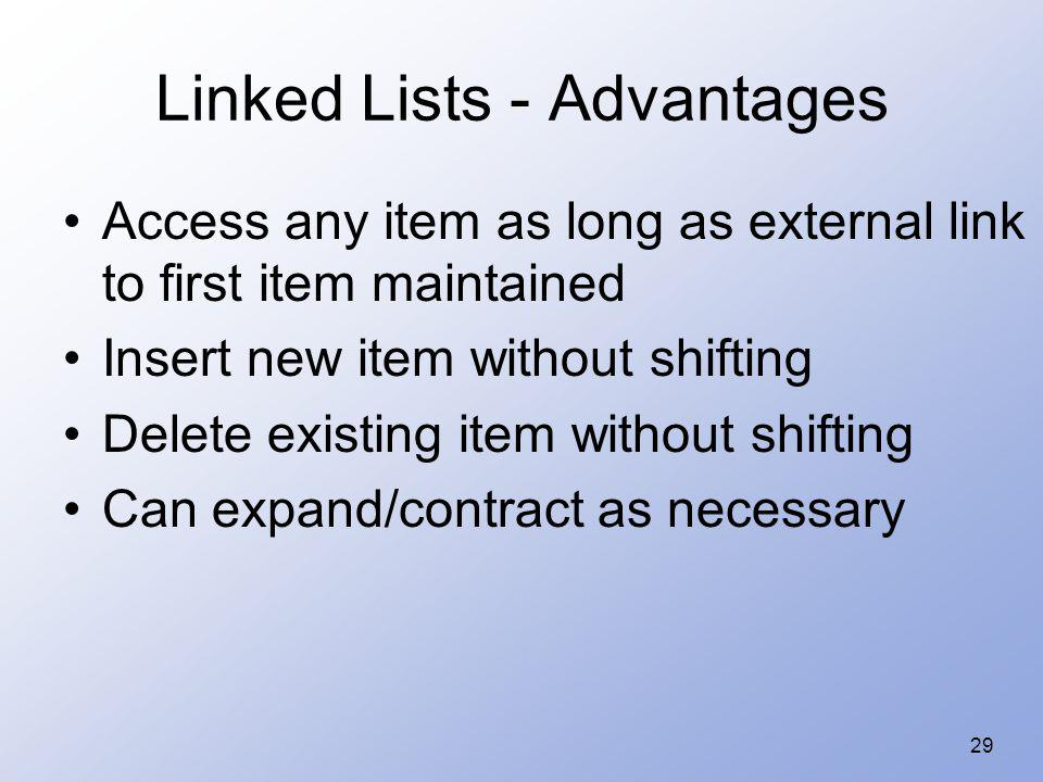29 Linked Lists - Advantages Access any item as long as external link to first item maintained Insert new item without shifting Delete existing item w