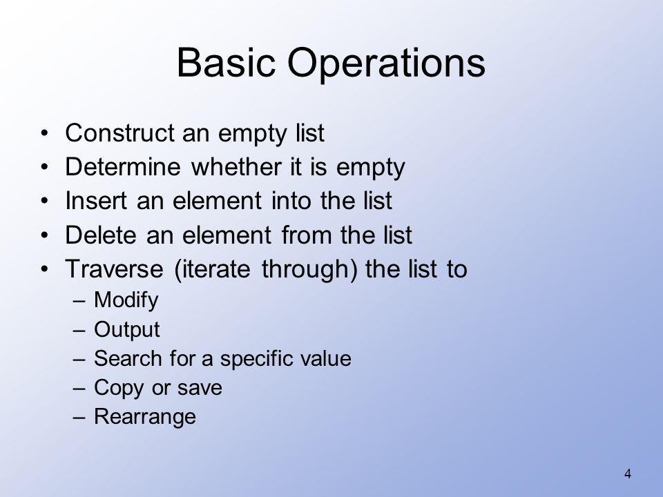 35 typedef int ElementType; class List { private: class Node { public: ElementType data; Node * next; }; typedef Node * NodePointer;...