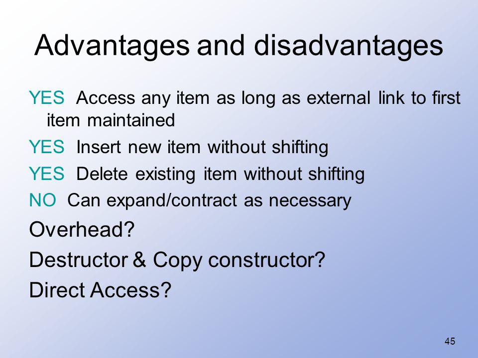 45 Advantages and disadvantages YES Access any item as long as external link to first item maintained YES Insert new item without shifting YES Delete