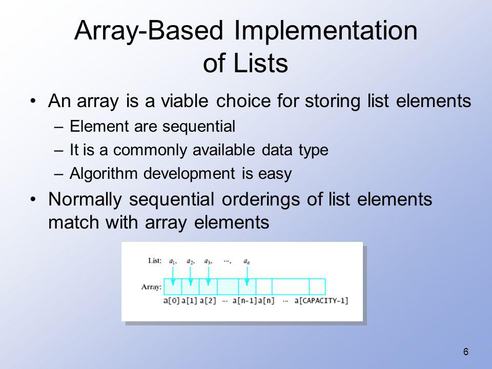 6 Array-Based Implementation of Lists An array is a viable choice for storing list elements –Element are sequential –It is a commonly available data t