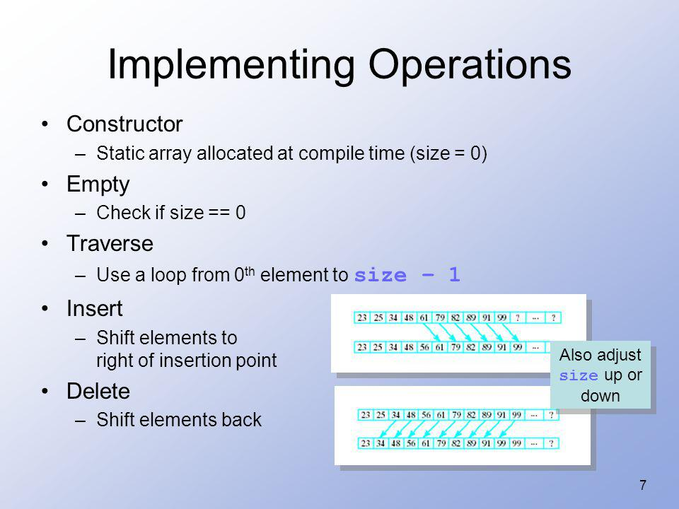 38 Function Members for Linked-List Implementation Copy constructor for deep copy –By default, when a copy is made of a List object, it only gets the head pointer –Copy constructor will make a new linked list of nodes to which copy will point Shallow Copy