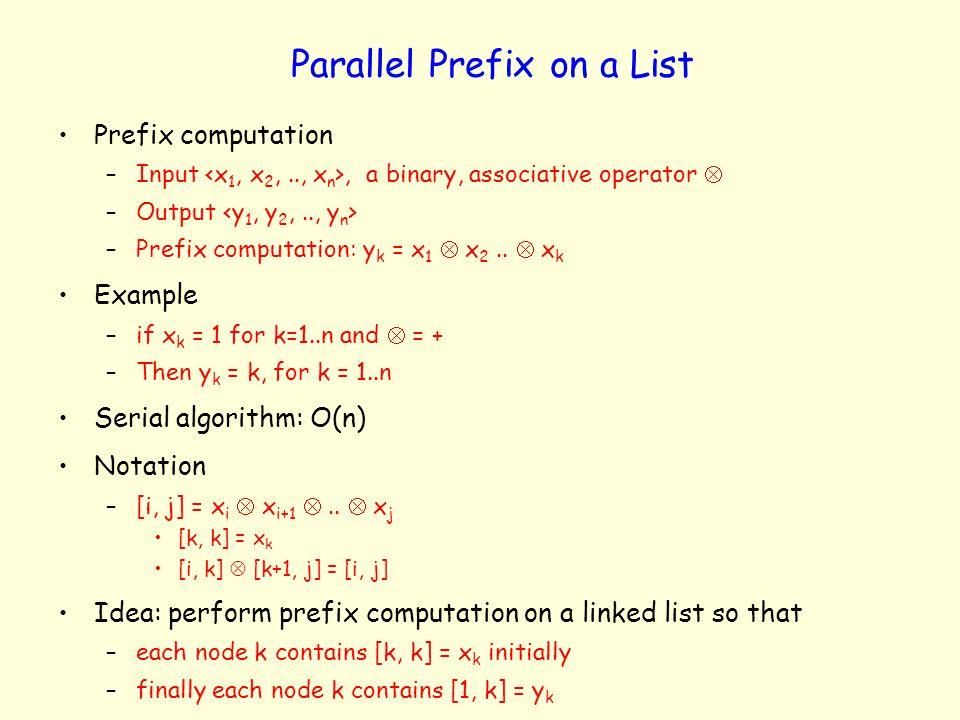 Parallel Prefix on a List Prefix computation –Input, a binary, associative operator –Output –Prefix computation: y k = x 1 x 2.. x k Example –if x k =