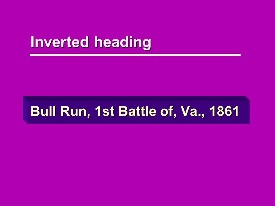 Inverted heading Bull Run, 1st Battle of, Va., 1861