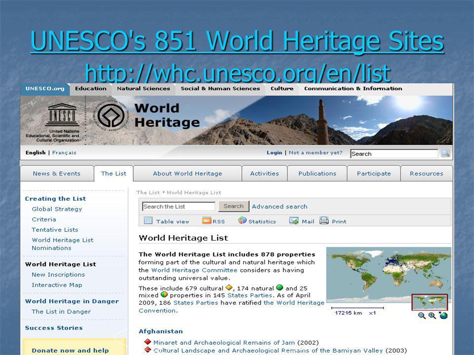 UNESCO's 851 World Heritage Sites http://whc.unesco.org/en/list UNESCO's 851 World Heritage Sites http://whc.unesco.org/en/list