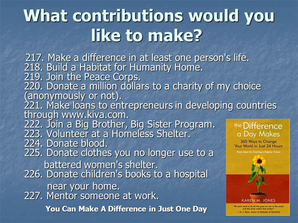 What contributions would you like to make.What contributions would you like to make.