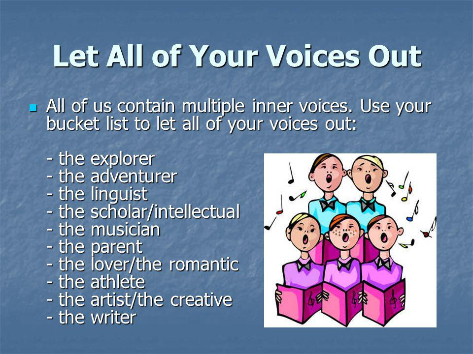Let All of Your Voices Out All of us contain multiple inner voices.