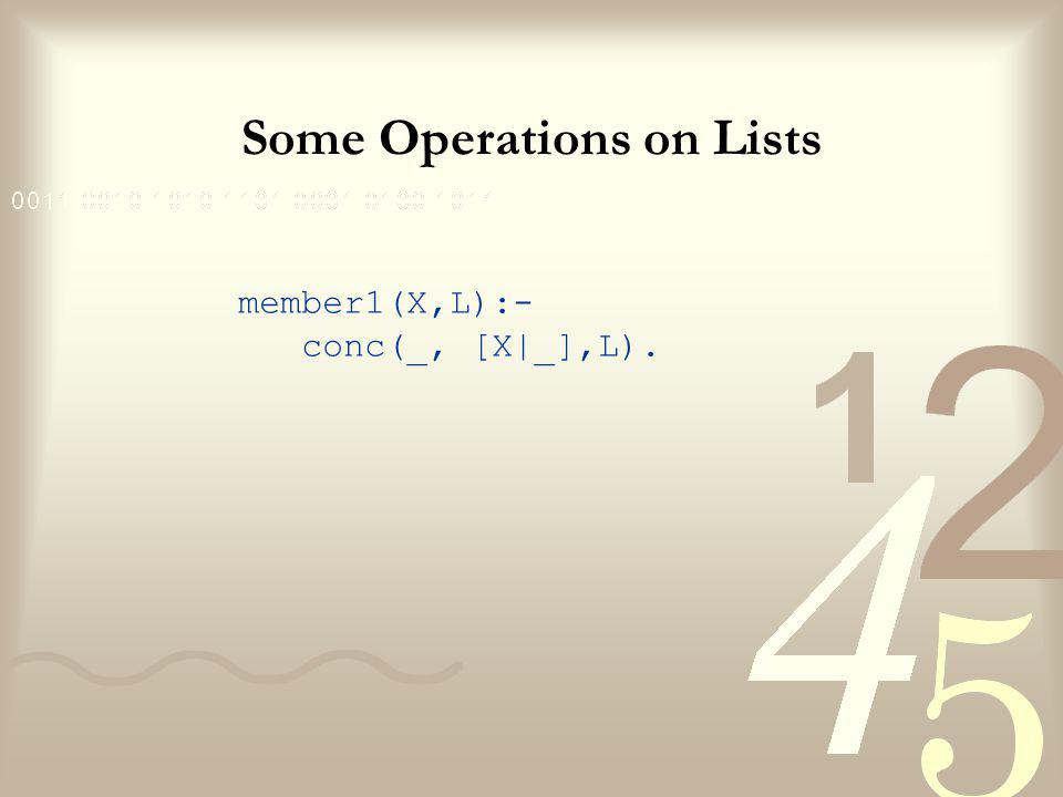 Some Operations on Lists member1(X,L):- conc(_, [X|_],L).