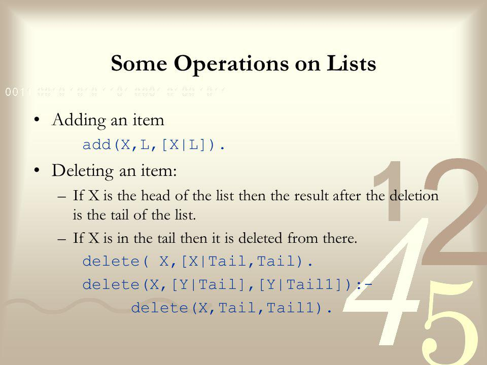 Some Operations on Lists Adding an item add(X,L,[X|L]).