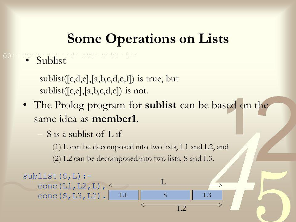 Some Operations on Lists Sublist sublist([c,d,e],[a,b,c,d,e,f]) is true, but sublist([c,e],[a,b,c,d,e]) is not.