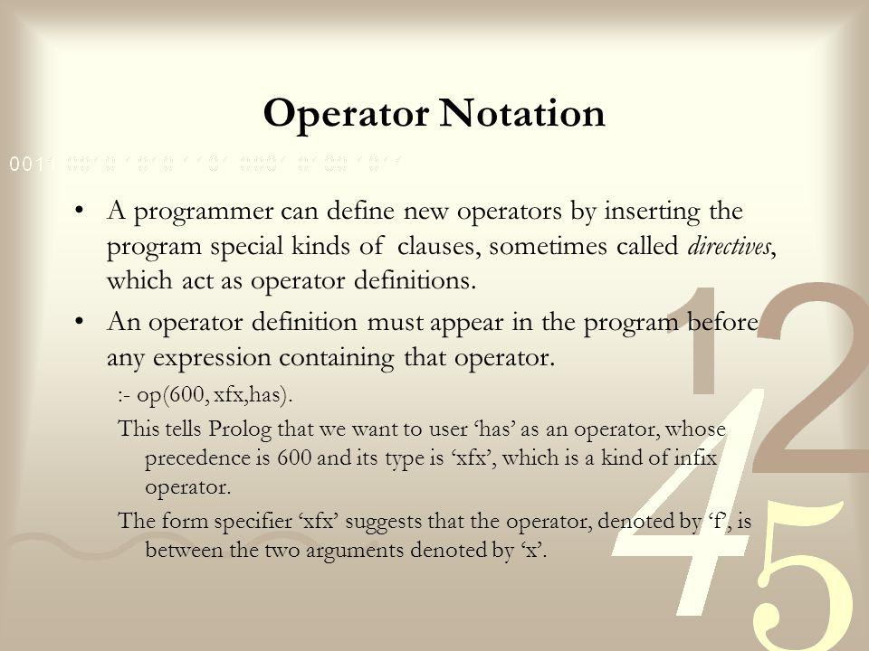 Operator Notation A programmer can define new operators by inserting the program special kinds of clauses, sometimes called directives, which act as operator definitions.