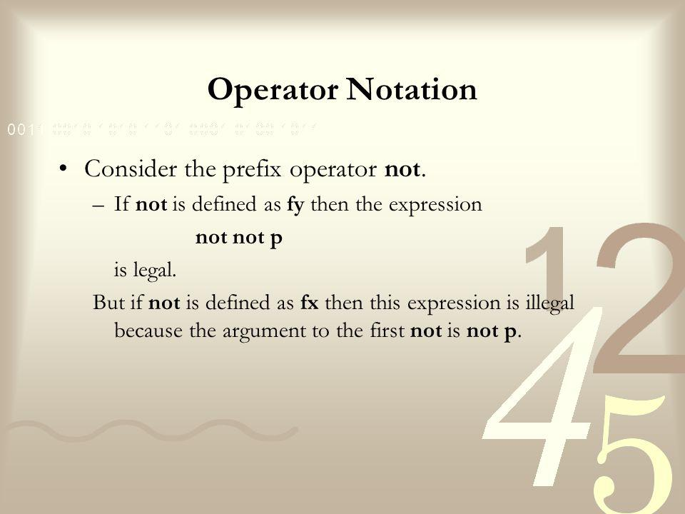 Operator Notation Consider the prefix operator not.