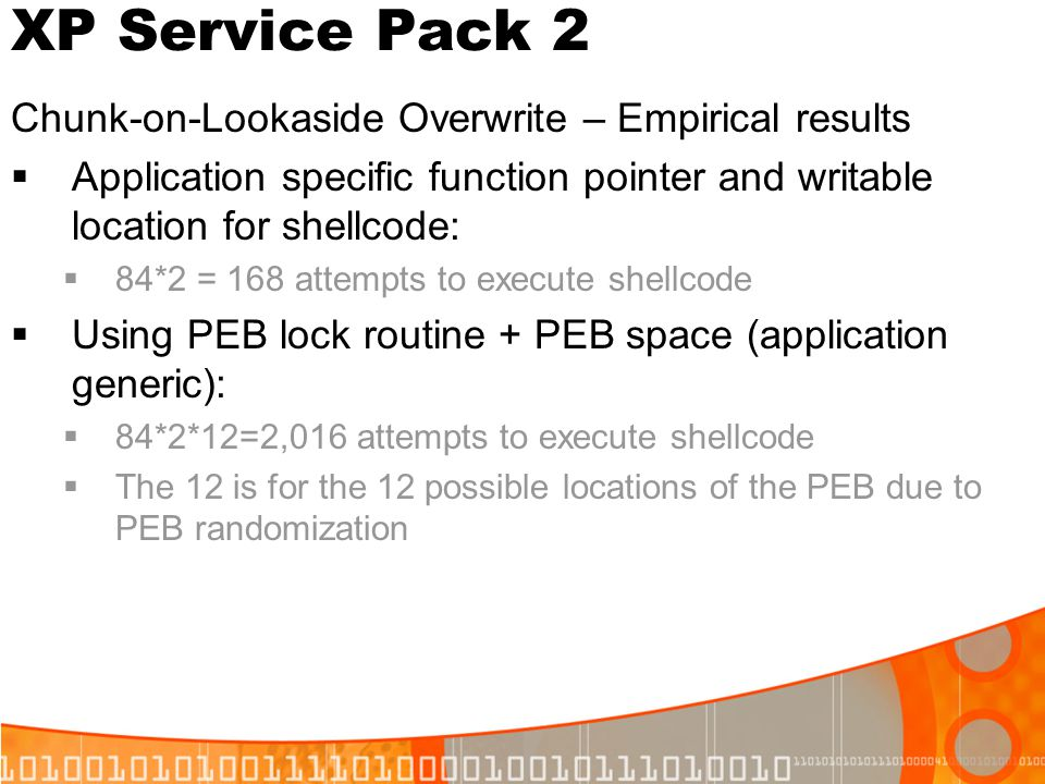XP Service Pack 2 Chunk-on-Lookaside Overwrite – Empirical results Application specific function pointer and writable location for shellcode: 84*2 = 1