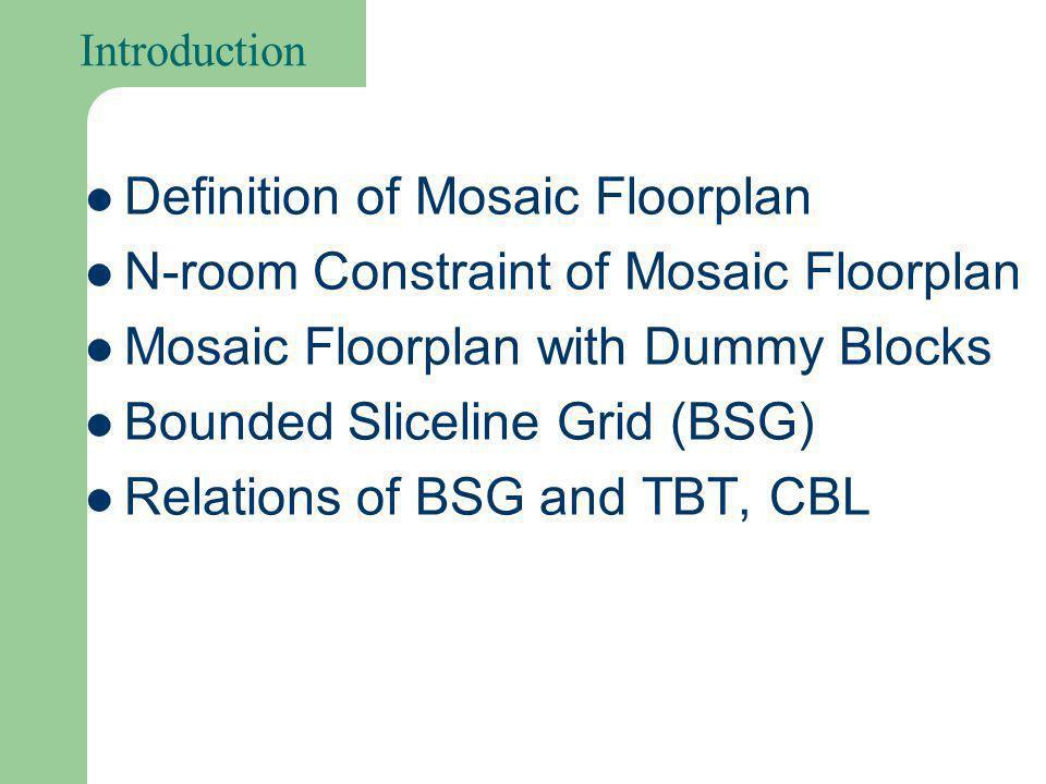 Definition of Mosaic Floorplan No Empty Space: n rectangles n blocks Topological Equivalence on Segment Sliding Non-Degenerate Topology A B C D A B C D