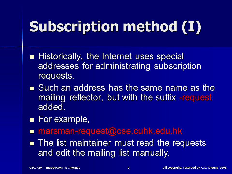 CSC1720 – Introduction to InternetAll copyrights reserved by C.C. Cheung 2003.36 IRC - Figure
