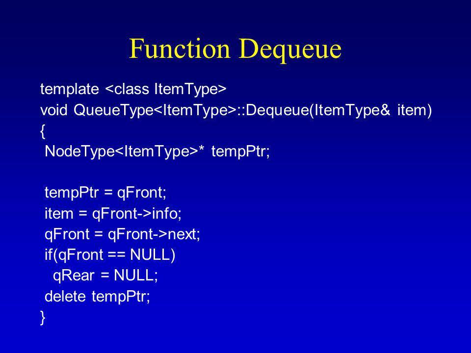 Function Dequeue template void QueueType ::Dequeue(ItemType& item) { NodeType * tempPtr; tempPtr = qFront; item = qFront->info; qFront = qFront->next; if(qFront == NULL) qRear = NULL; delete tempPtr; }